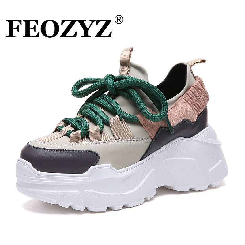 ADBOOV New Fall Winter Platform Sneakers Women Height Increasing 7 cm Chunky Shoes Woman Plus Size