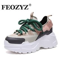 ADBOOV/Новые осенне-зимние сникерсы на платформе, женская обувь, увеличивающая рост, на массивном каблуке 7 см, большие размеры 35-42, женская обувь на танкетке