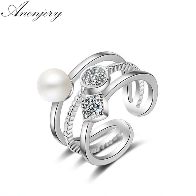 Anenjery 925 Sterling Silver Rings For Women Trendy Multi-layer Pearl Mosaic CZ Zircon Resizable Rings bague femme S-R217