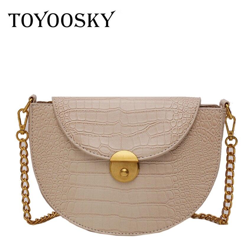 TOYOOSKY Designer Stone Pattern Semicircle Saddle Bag Alligator Leather Women Crossbody Female Chain Shoulder Flap Purse