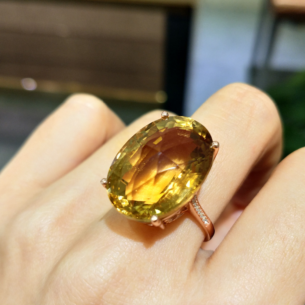 FLZB , Big ring 100% natural citrine ov 16*22mm 25.8ct normal cut in 925 sterling silver with 18k gold plated luxury jewerlry