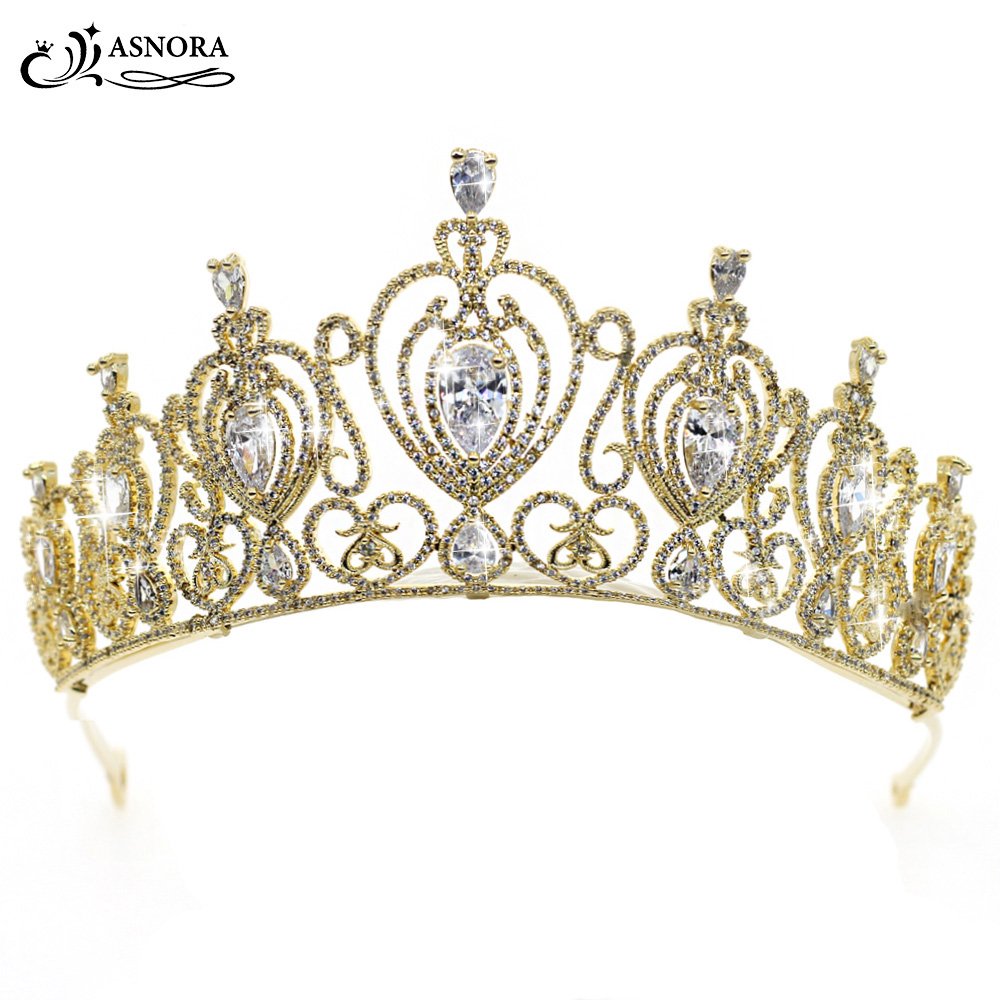 ASNORA Stylish Gold Crowns Tiaras Bridal Hair Accessories Bride Hairwear Zircon Crystals Wedding Accessories coroa de noiva 00009 red gold bride wedding hair tiaras ancient chinese empress hair piece