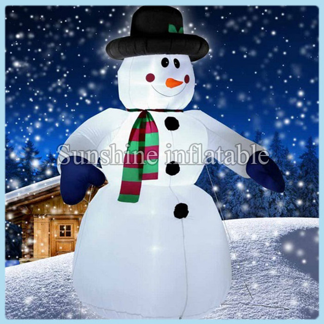 free shipping large outdoor christmas inflatable snowman with fanled lights giant christmas decoration for promotion