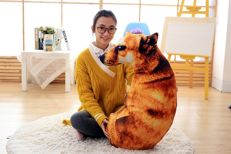 3d Dog Stuffed Dog Pillow Bolster Plush Toy Play Doll Stuffed Throw