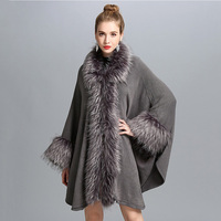 pashmina cashmere shawl for women with fake fur collar trim and cuff big size with sleeve black gray female fashion shawls capes