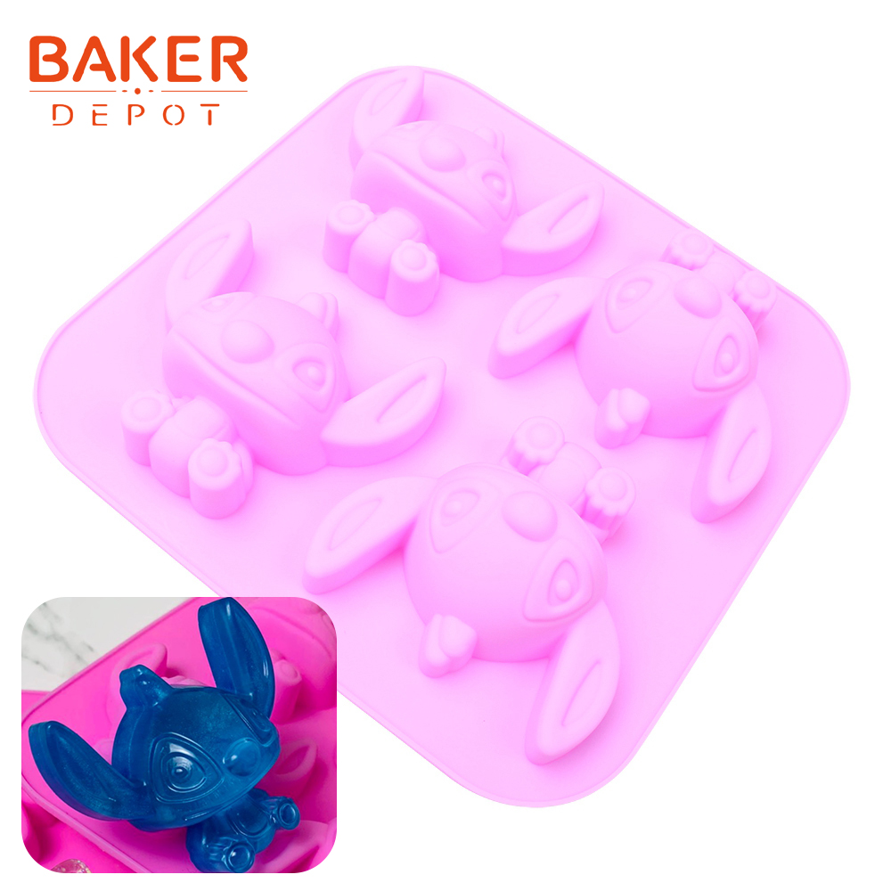<font><b>BAKER</b></font> <font><b>DEPOT</b></font> Handmade Soap Mold Silicone Cake Bakeware Molds Aromatherapy Soap Mold Dog shape Jello Biscuit Baking Tools 4 Holes image