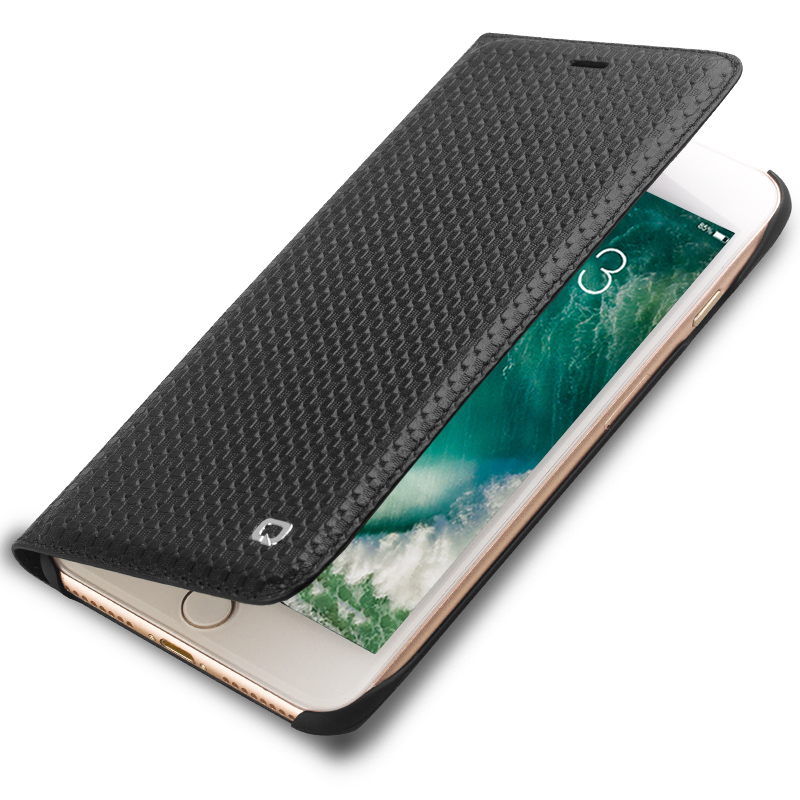 QIALINO Case for iPhone 8 Luxury Genuine Leather Flip Phone Cover for iPhone8 plus Ultra Slim Card Slot 4.7/5.5 inch Holster