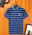 2017 limitada nueva llegada de rayas de moda para hombre camisas de polo de la raya 2016 homme hombres de la marca camisa de manga larga de algodón en forma de más tamaño