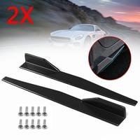 New 2X 86cm Universal Carbon Fiber look & black modified Car Body Side Skirt Rocker Splitters Diffuser Winglet Wings Bumper