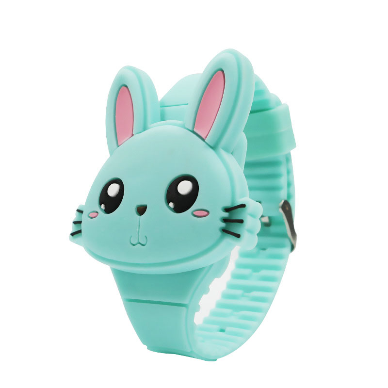 1 Pcs Kids LED Electronic Watch Silicone Band Cartoon Rabbit Flip Case Wrist Watch Lovely Gift NFE99
