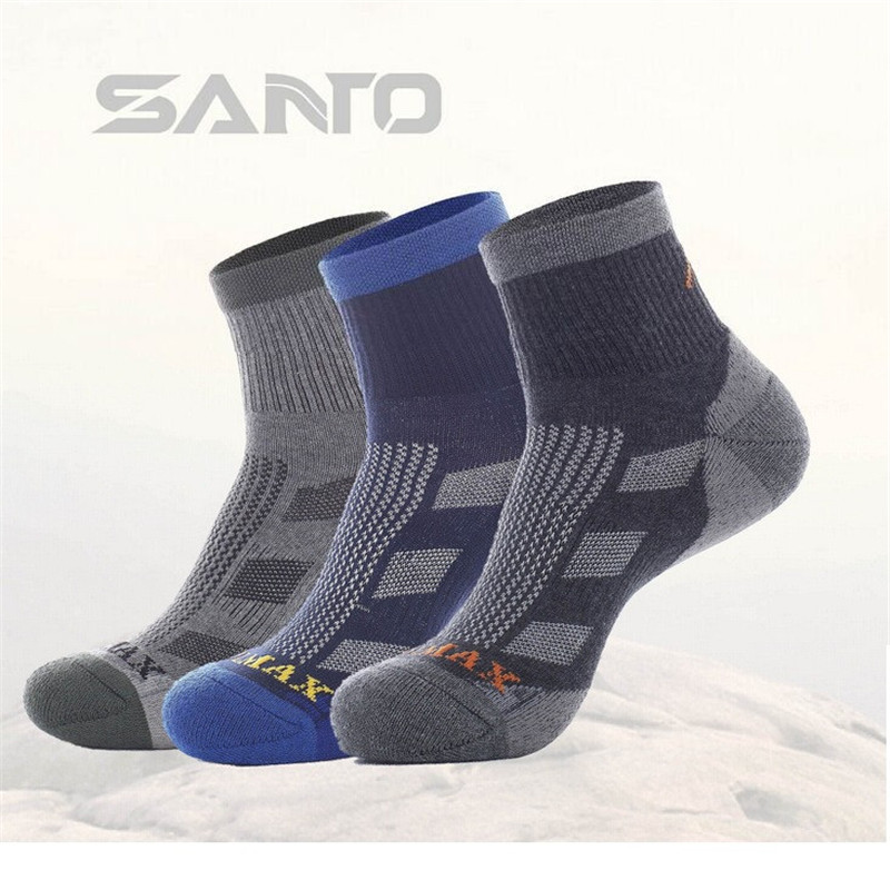Men Sports Socks (3 Pairs/lot) SANTO/S045 Quick Dry 50% Coolmax 30% Cotton Warm Outdoor Hiking Socks