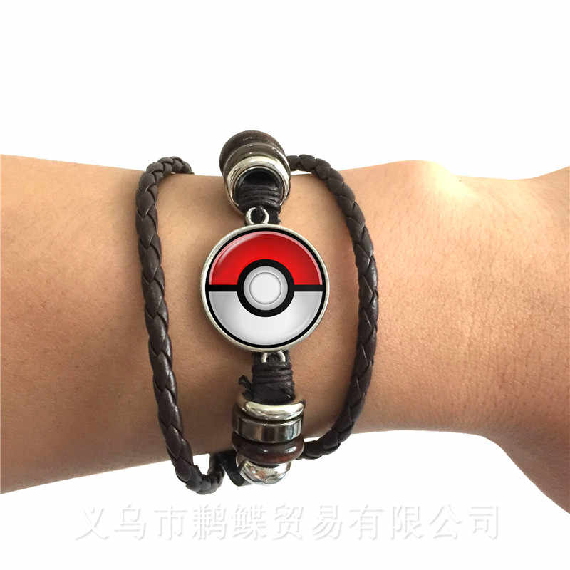 1PC 20MM Glass Cabochon Pokemon Ball Pattern Charm Black/Brown 2 Color Leather Bracelet Adjustable Bangle For Men Women Gift