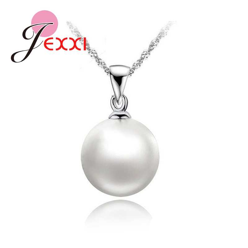 100% White Pearl Pendant Necklaces 18 inch 925 Sterling Silver Singapore Necklace Chains Wholesale