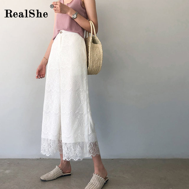 RealShe Lace High Waist Sexy Pants Women Casual Skinny Ninth Summer Lace Pants for Women Streetwear Women Trousers
