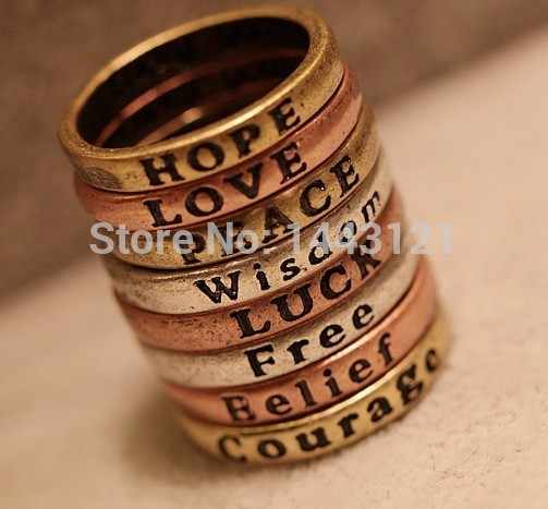 R142 vintage European and American minimalist retro lettering Wishing Ring hot fashion