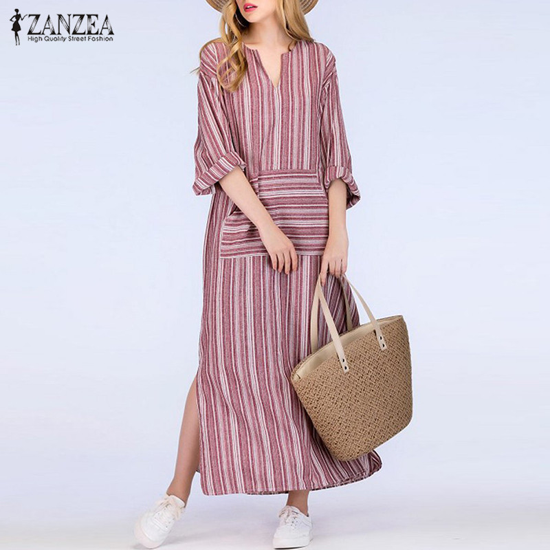 5c8db277e6 ZANZEA Women Striped Dress 2018 Autumn Vintage Casual Loose Maxi Long  Dresses Sexy V Neck Long Sleeve Vestidos Plus Size-in Dresses from Women s  Clothing on ...