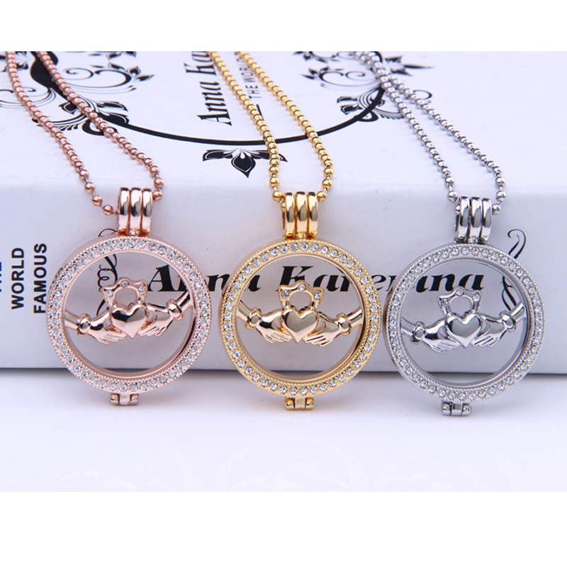 free shipping hand heart 35mm Mi Moneda Coin set featuring the Sky the Limit Pendants Necklace 33mm My Coins 80cm chain rose