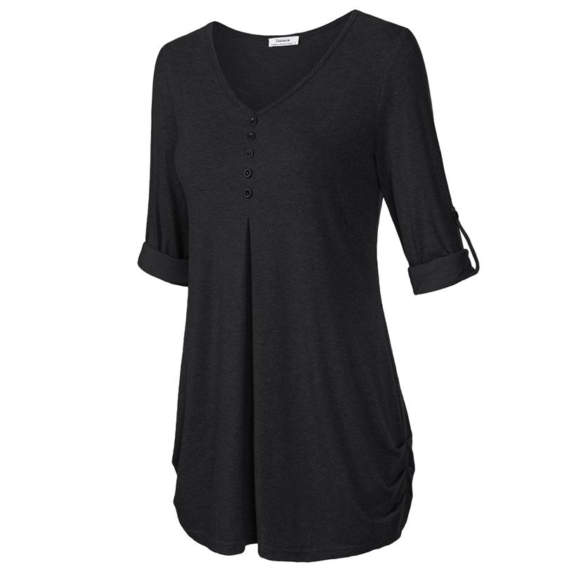 HTB1diHkPFXXXXbTXFXXq6xXFXXXJ - New Women Summer T-shirt Button Long Sleeve Female