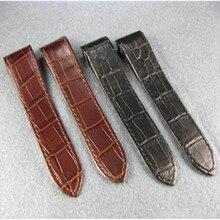 цена New Black / Brown 23mm Grain Leather Strap For Santos 100 Chronograph Watch Band + Tools онлайн в 2017 году