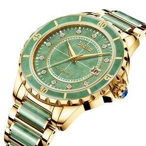 Image 5 - Top zümrüt yeşim otomatik erkek mekanik saat safir sarmal aydınlık eller takvim erkekler kol saatleri İsviçre marka