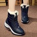 Plus Tamaño de Las Mujeres Botas de Nieve de Alta Calidad Caliente Del Invierno Botas de Plataforma de Fondo Grueso A Prueba de agua Botines Femeninos Zapatos de Piel Gruesa