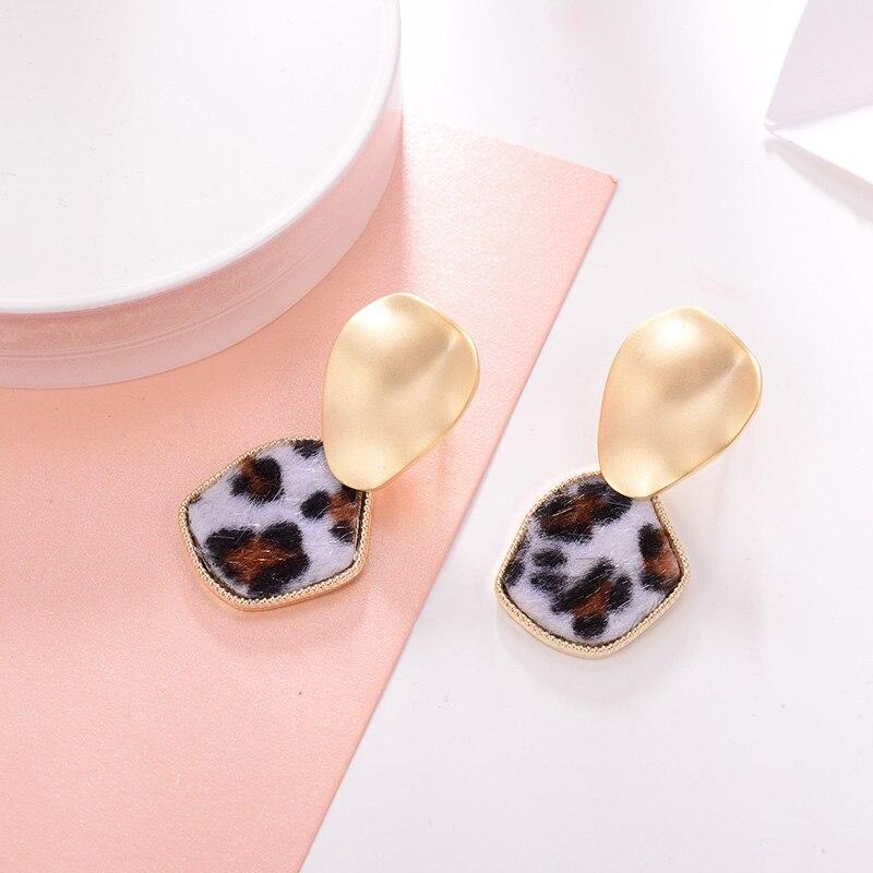 Leopard Print Gold Earrings Fashion Jewelry Women Accessories Drop Earrings for women Copper Material Water Drop Shape Brincos in Drop Earrings from Jewelry Accessories