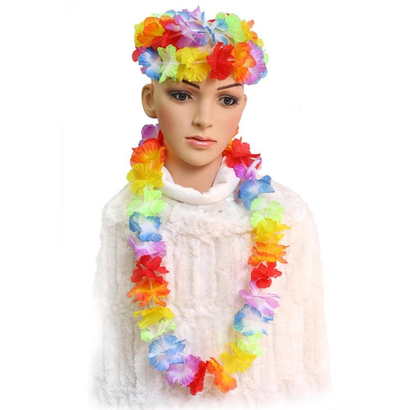 Hawaiian Hula 5 Piece Set Glasses Flower Neck Garland Lei Luau Aloha Beach Party