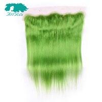 ALLRUN מראש בצבע ברזילאי שיער אדם ישר דשא ירוק 13*4 חזיתי תחרה עם תינוק שיער 8