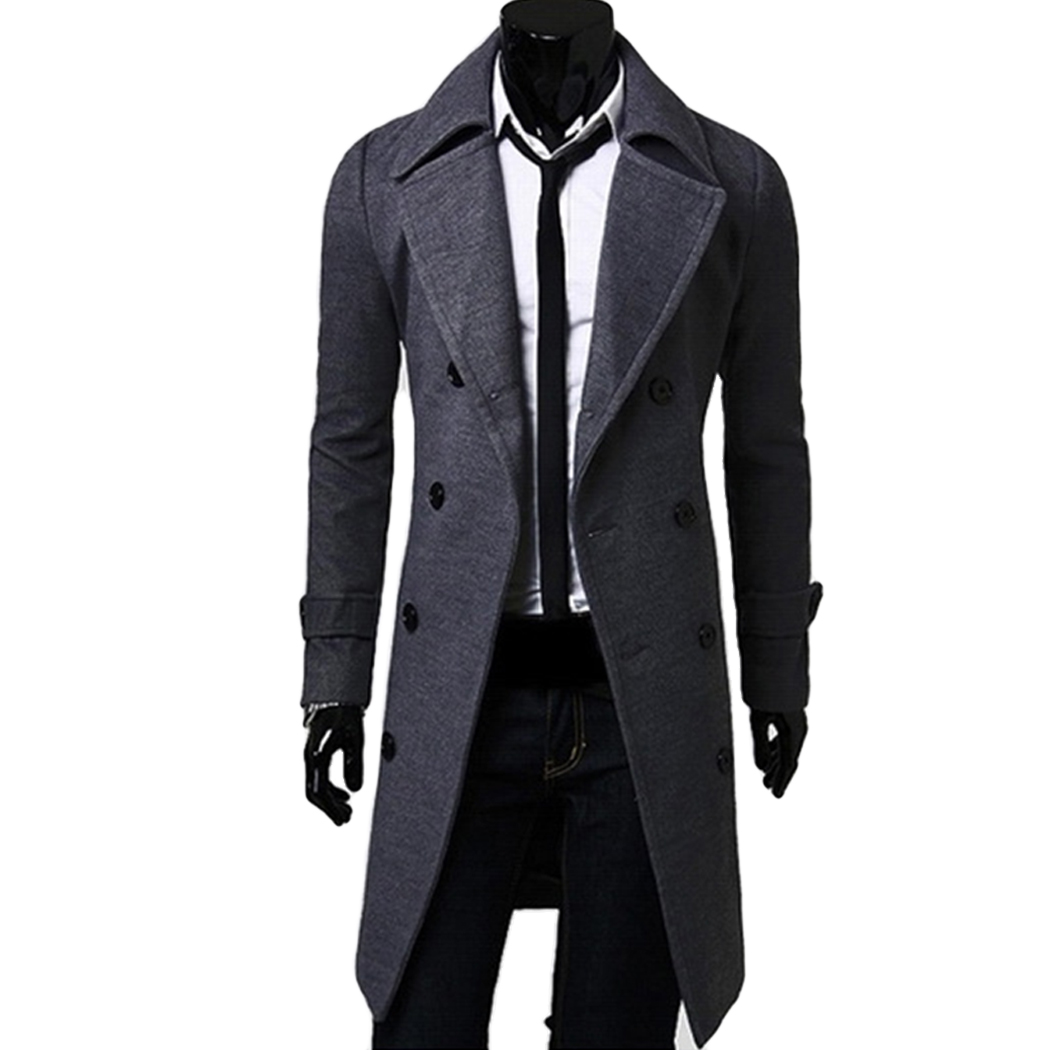 Fancy Menu0026#39;s Trench Coat Men Classic Double Breasted Coat Masculino Clothing Long Thick Jackets ...