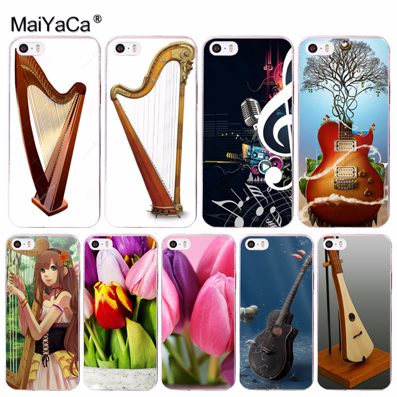 Half-wrapped Case Maiyaca Musical Instruments Harp Flowers Novelty Fundas Phone Case Cover For Apple Iphone 8 7 6 6s Plus X 5 5s Se 5c 4 4s Cover
