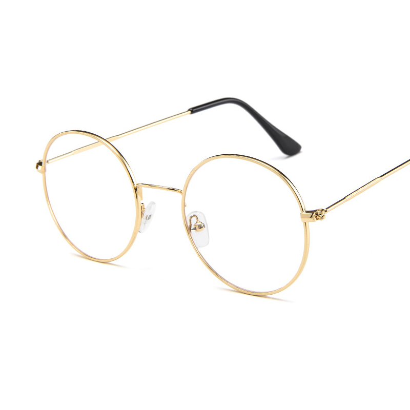 Blu-Ray Glasses Round Flat Mirror Retro Unisex Literary Black Gold