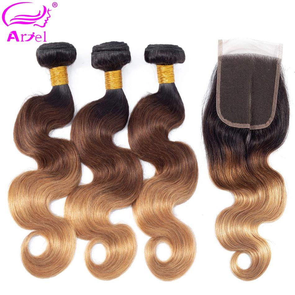 ARIEL Ombre 1B 4 27 brazylijski 3 zestawy z zamknięciem kolorowe ciało fala Remy włosy blond splecione ludzkie włosy wiązki z zamknięciem w 3/4 pasma z siateczką od Przedłużanie włosów i peruki na AliExpress - 11.11_Double 11Singles' Day 1