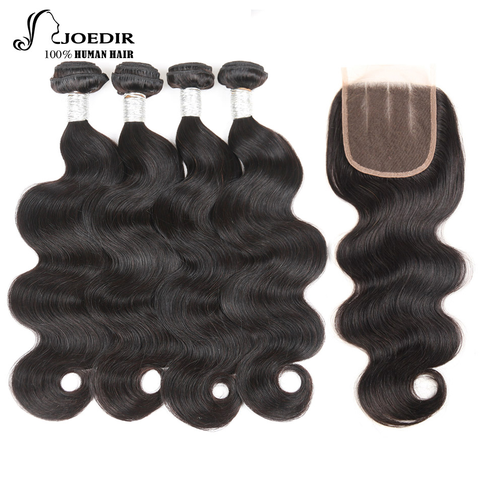 Joedir Non-Remy Hair 5Pcs/Lot Indian Body wave Bundles With Closure 100 % Human Hair 4 Bundles with Closure Pre-Plucked Hairline