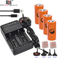 4 pcs 26650 battery Lithium Rechargeable Batteries + 26650 USB Multi Charger 18650 16340 14500 CR123A Flashlight battery Charger