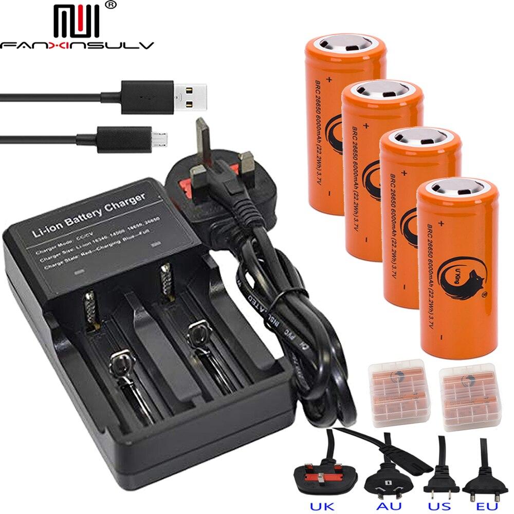 4 pièces 26650 batterie Lithium Rechargeable Batteries + 26650 USB Multi chargeur 18650 16340 14500 CR123A lampe de poche chargeur de batterie