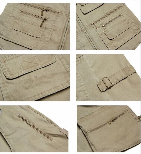 Grandwish Large Size Mens Cotton Sleeveless Unloading Fashion Waistcoat With Many Pockets Male Military Vest Plus Size 7XL,DA848
