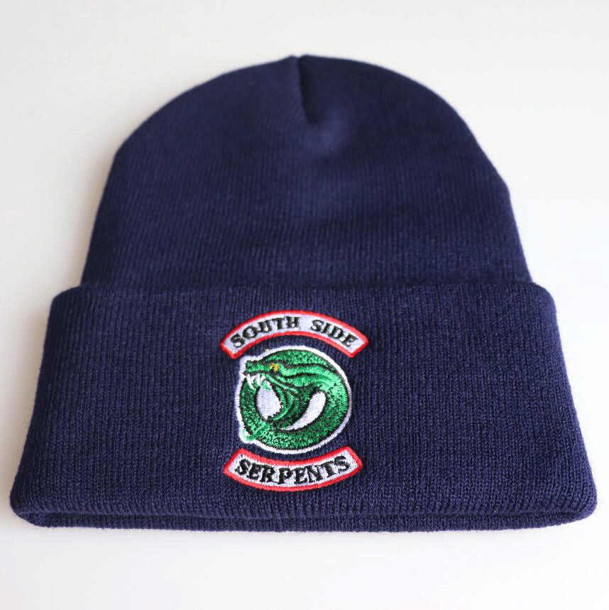 2019 Riverdale South Side Serpents Cosplay Hats unisex Archie Beanie Cap Winter Soft Knitted Embroidery Hat