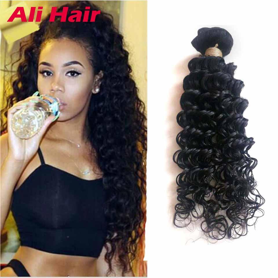 Peruvian Deep Wave 4 Bundles 8A Virgin Curly Hair Weaves 18 20 22 24 inch Bundle Deals