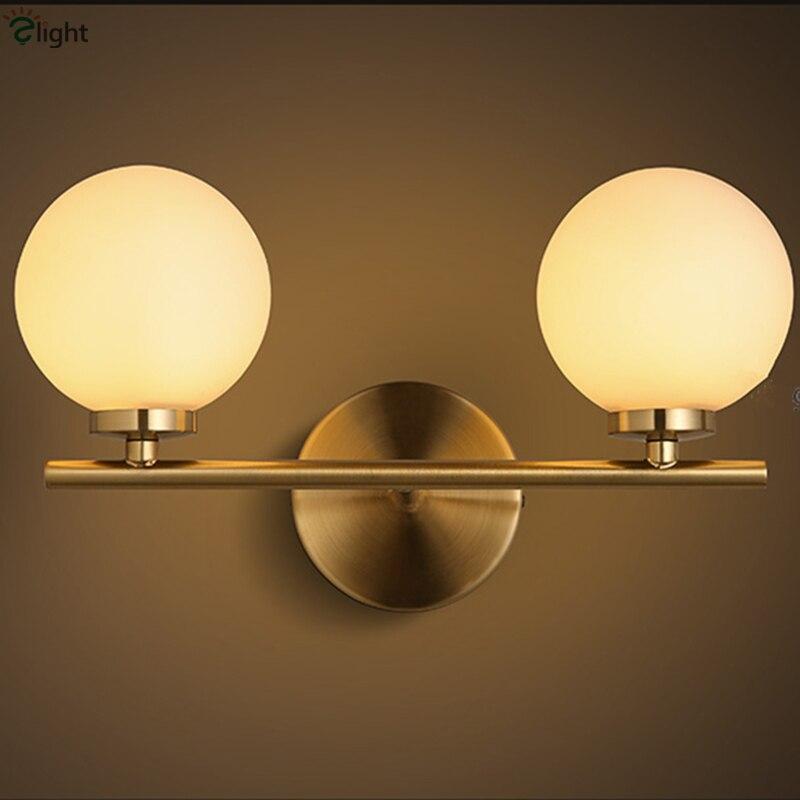 Nordic минимализм Кисточки латунь металл бра Спальня Ресторан dia10cm матовый Стекло Глобусы мяч привело 3 Вт G4 бра