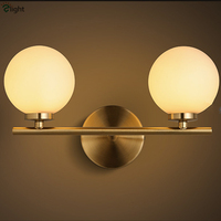 Nordic Minimalism Brush Brass Metal Wall Lamp Bedroom Restaurant Dia10cm Frosted Glass Globe Ball Led 3W G4 Wall Lamp