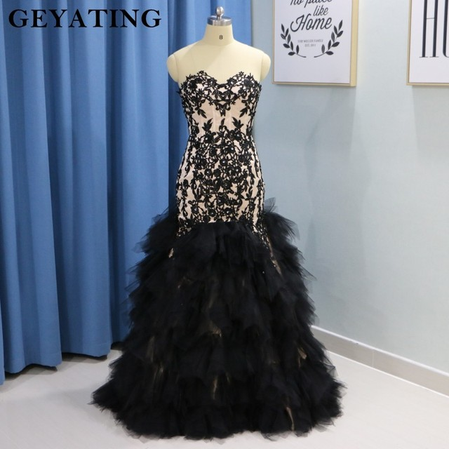 2018 Black Lace Tulle African Girls Long Prom Dresses Plus Size