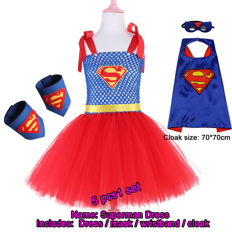 Set Superman Cosplay Tutu Dress Red, Blue Birthday For Girls Super Hero Theme Evening Dress Tutu Dress With Bow Children's Costu