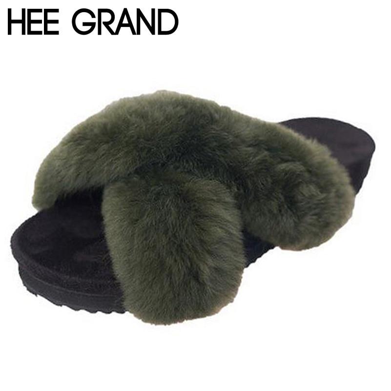 HEE GRAND Woman Slides Fashion Cross Faux Fur Stripe Med Flat Platform Winter Spring Cute Slippers