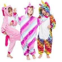 Kigurumi Childrens Pajamas for Boys Girls Unicorn Kids Onesies Animal Winter Warm Pegasus  Children Sleepwear 4-12T