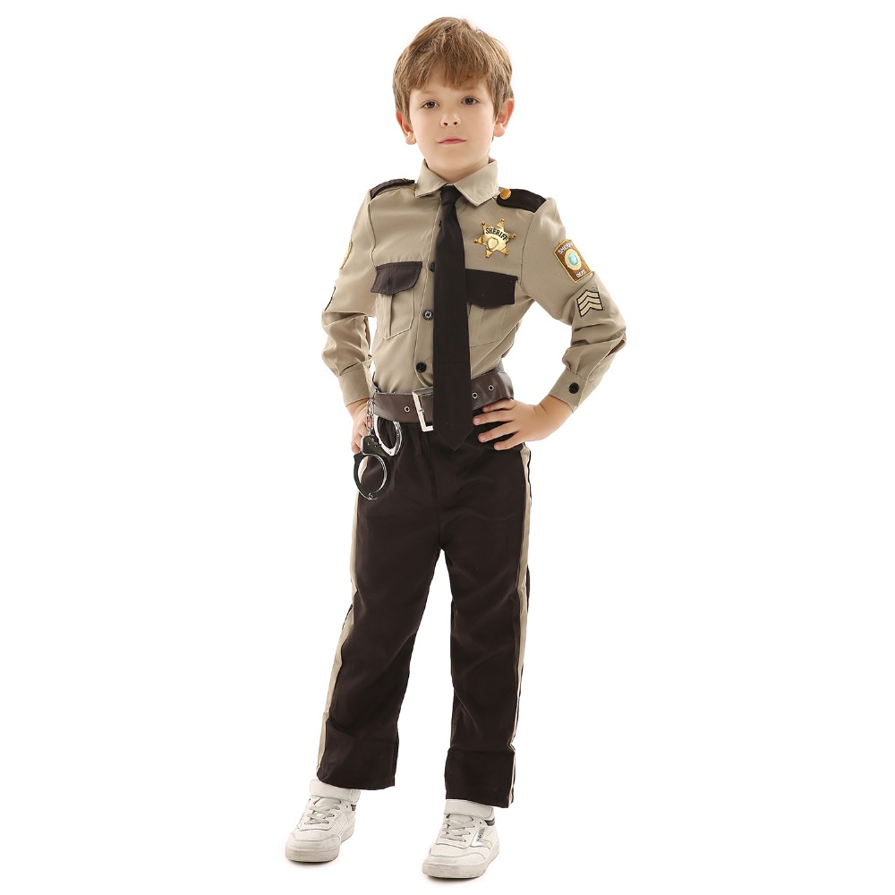Fashion Policeman Soldier Costume Kids Dark Brown Polyester Uniform Clothing Party Stage Performance or Children' s Day Gift