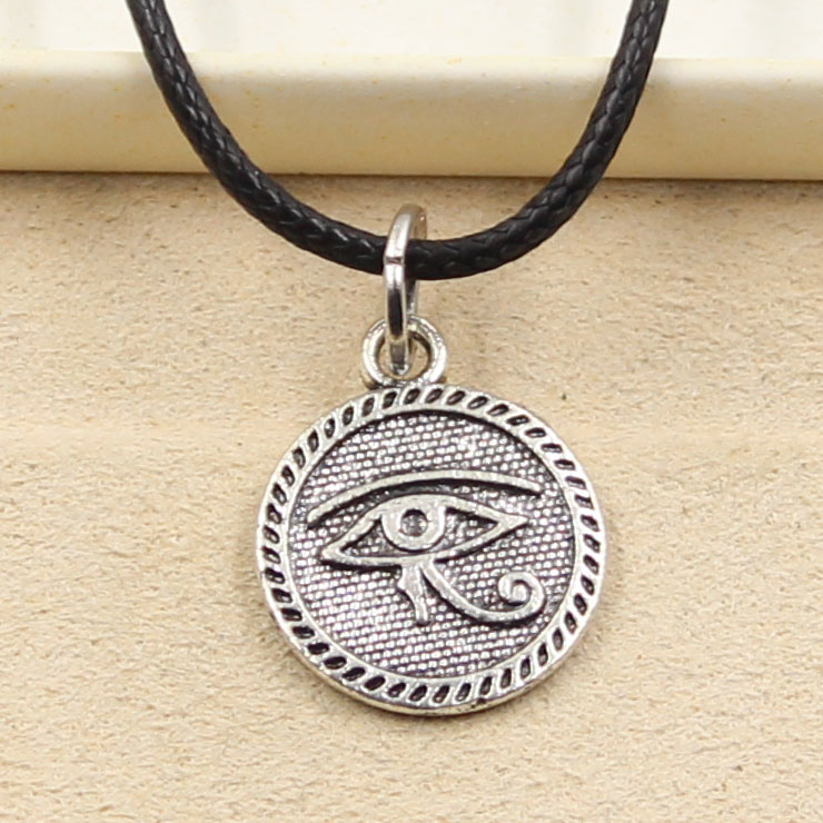 Egyptian EYE OF HORUS Cabochon Glass Tibet Silver Locket Pendant Necklace