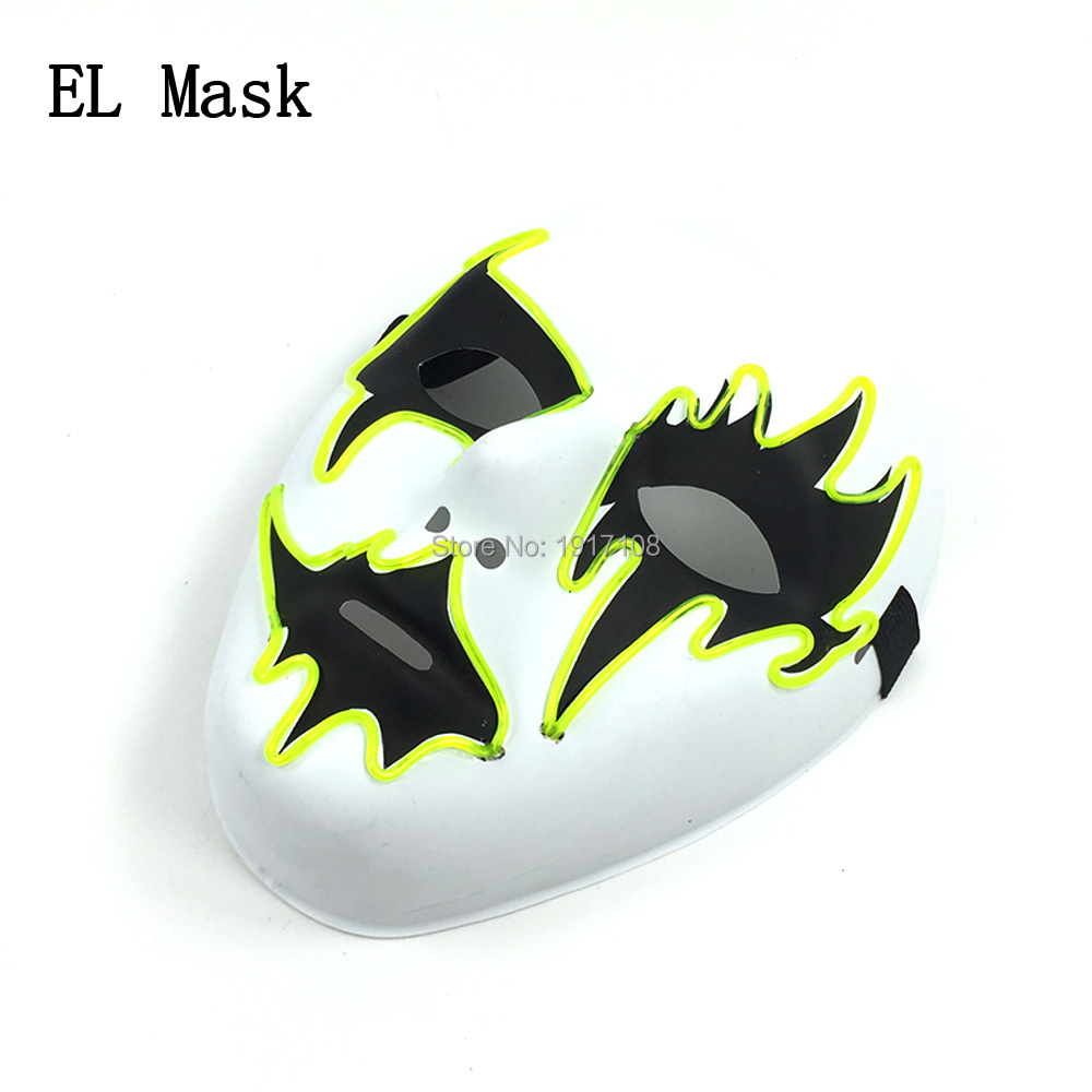Wholesale EL wire mask 10 pcs 10 Colors Available Flashing Party props Glowing LED Mask For Halloween Decoration
