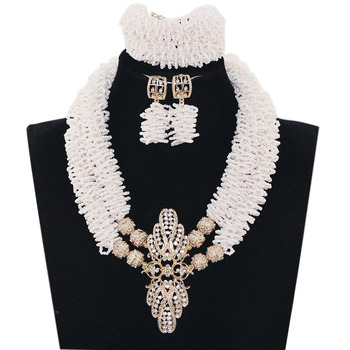 African White Beads Jewelry Set Chunky Crystal Bib Statement Necklace Set Nigerian Wedding Gifts 2017 Free Shipping JB063