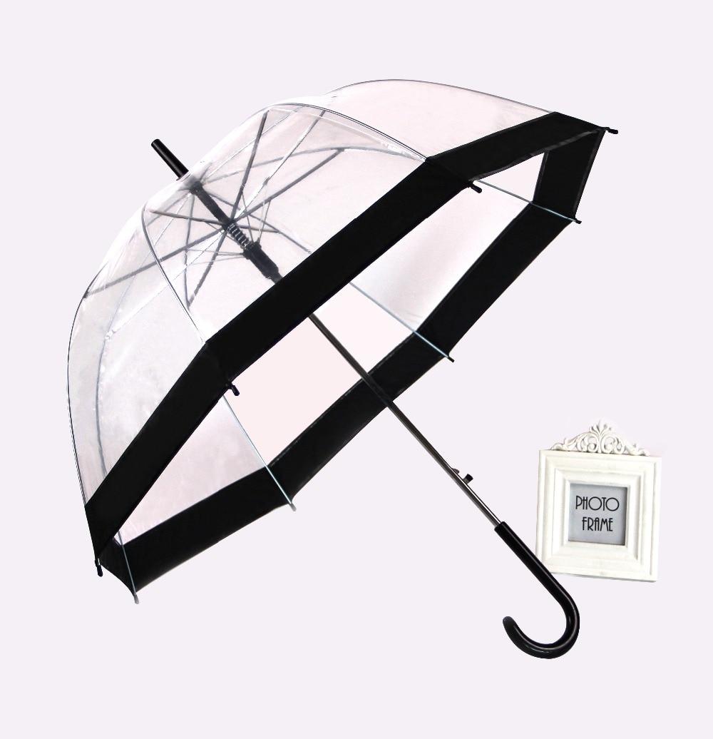 PALONY Transparent Long-handle Rain Umbrella Ultra Light Women Kids Parasol Rain Umbrella Semi-automatic Female Umbrellas