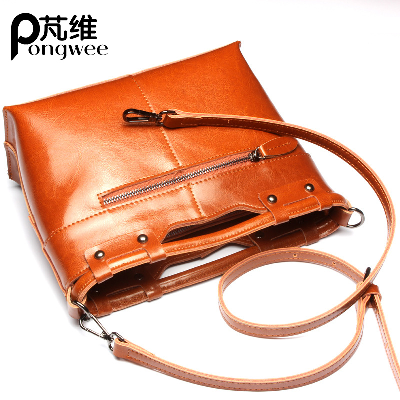 PONGWEE 2018 New Genuine Leather Handbags Ladies Brand Fashion Crossbody Bag Shoulder Women Bag Female Solid Bags Wholesale euni brand women s solid circular bags ladies mini crossbody bag female new fashion cowhide leather shoulder bag luxury design